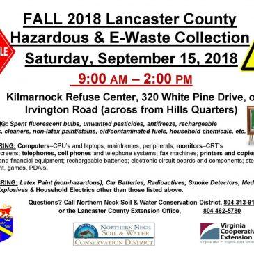 Lancaster County Household Hazardous Waste/E Waste Event