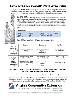 Cooperative Extension to host well water testing in the Northern Neck