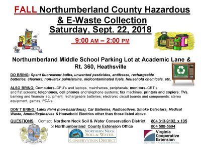 Northumberland Hazardous Waste and E Waste Collection Tomorrow