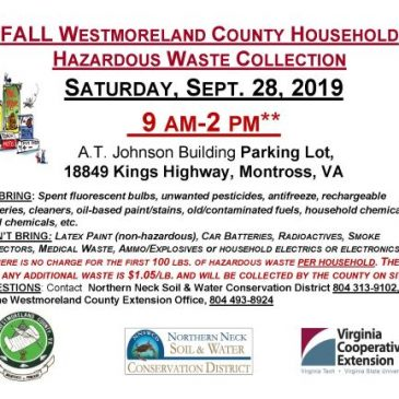 Westmoreland County Household Hazardous Waste Collection September 28