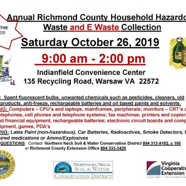 Richmond County Household Hazardous Waste and E-Waste Collection October 26.