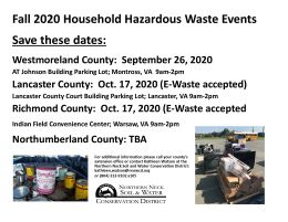NNSWCD Hazardous Waste Collection Events, Update