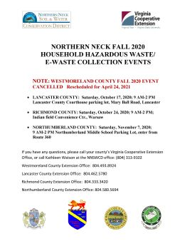 Fall 2020 Household Hazardous Waste/E-Waste Collection News