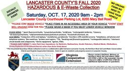 Lancaster County Household Hazardous Waste and E-Waste Collection October 17