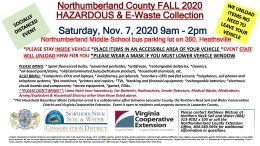 November 7 Northumberland County Household Hazardous Waste/E-Waste Collection