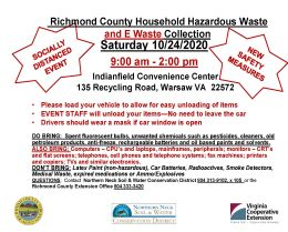 Richmond County Household Hazardous Waste and E-Waste Collection Saturday, October 24