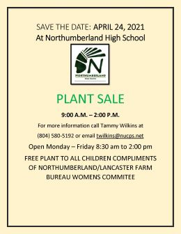 Northumberland High School Plant Sale Starts April 24